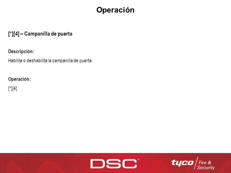 Operación [*][4] – Campanilla de puerta Descripción: